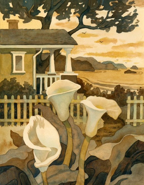 Craftsman Cottage print, wall decor, Sepia toned artwork, Cottage by the sea, painting of lillies
