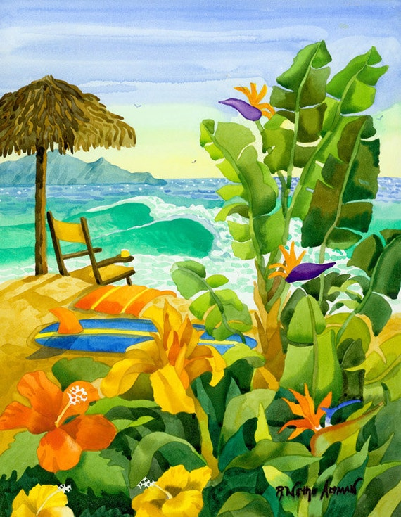 Tropical wall decor, Surfboard, Beach Chair with Ocean, Palapa on the Beach, Robin Altman artist, Hawaiian beach scene