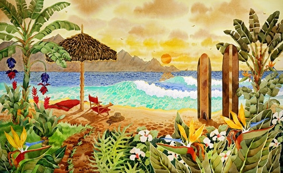 Surfboards on the Beach, Hawaiian Islands, Beach Chair on the beach, Palapa and chair on the Beach, Tropical Flowers, burnt orange