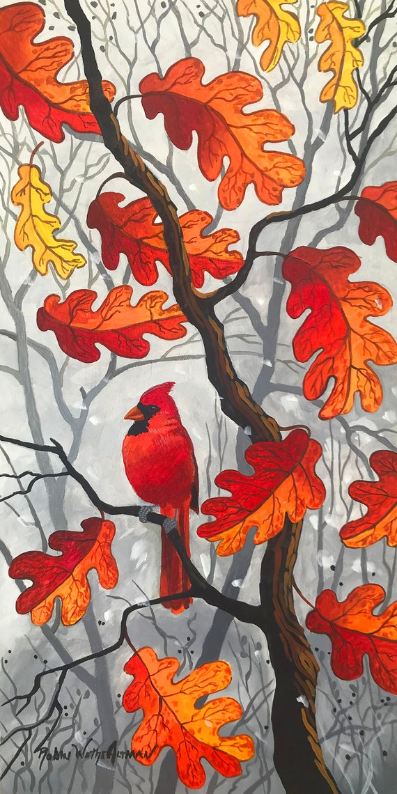 Red Cardinal in Tree, Red Cardinal Fall Leaves, Red Bird, Fall Leaves, Red Fall Leaves, Painting of Fall Colors, Print of Fall tree, Fall