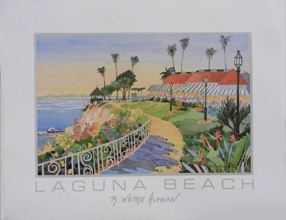 Laguna Beach Las Brisas Restaurant Cliff Path with Gazebo over Ocean and Beach