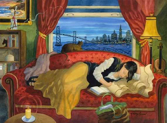Woman on couch, San Francisco, woman with cat, Scene of San Francisco, San Francisco Art, Painting of woman on couch, woman sleeping