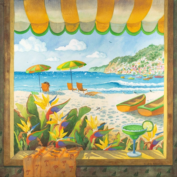 The Isle of Capri, beach at Capri, ocean with boats, bird of paradise, umbrellas and beach chair, Looking Out a Window