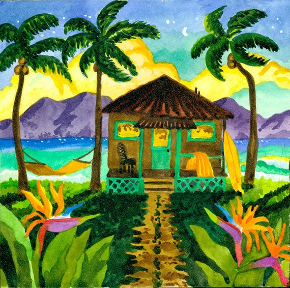 Tropical Beach Hut with Palm Trees on the Beach, Hammock, Tropical Flowers and Surfboard
