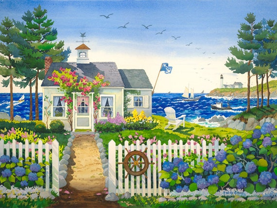 Maine Cottage Bungalow Seascape with Lighthouse, Sailing Ships and Adirondack Chair by the Ocean