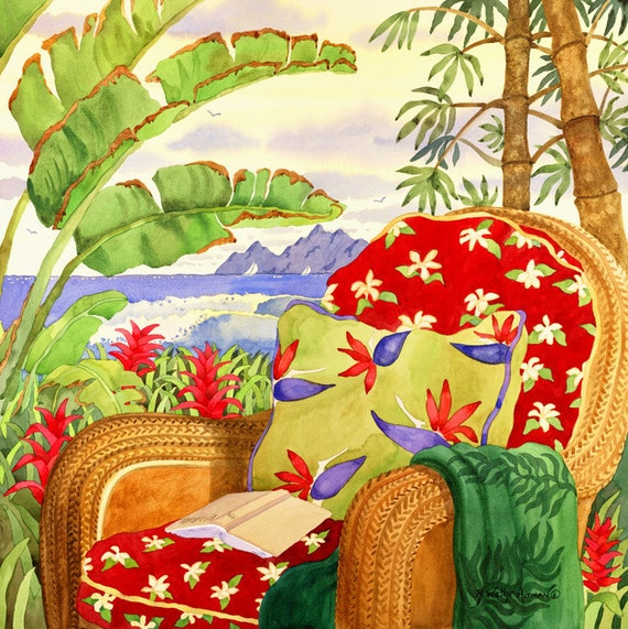 Tropical wall decor, tropical print Beach Chair, Hawaiian Island Art, Palm Trees and bamboo, Beach decor