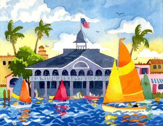 The Newport Pavillion, Newport Harbor, Sailboats at Newport, sailboat painting, painting of Newport Harbor, California Art, Altman art