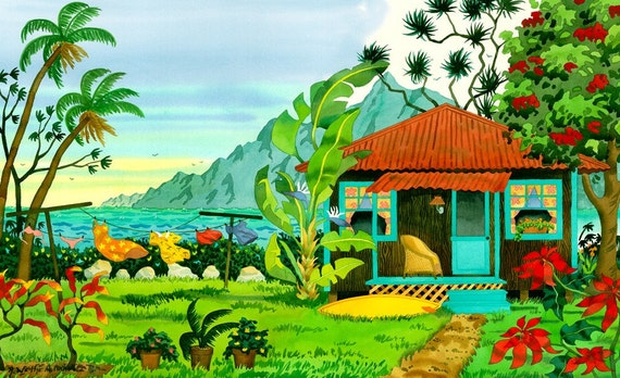 Tropical Beach Cottage Seascape with Surfboard, Clothesline, Flowers and Palm Tree