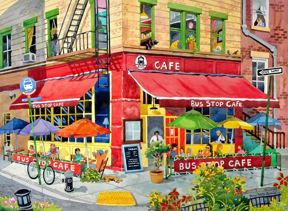 New York City Cafe Restaurant Near Park with Dogs, Has Diversity, Urban Life, Colorful Umbrellas and Bicycle