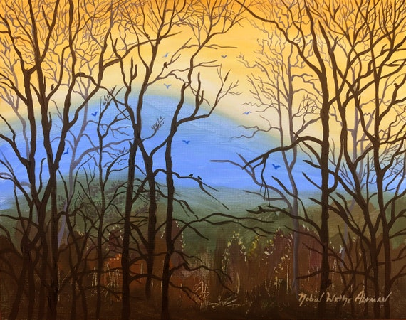 Mountains and Trees, looking through trees, winter trees, Appalachian Mountains, Asheville area, painting of trees, trees and sunset, Giclee