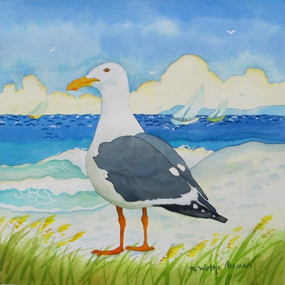 Seagull, Seagull on the beach, Seagull with ocean, painting of seagull,  print of seagull, Laguna Beach, Robin Altman painting, Seagull art,