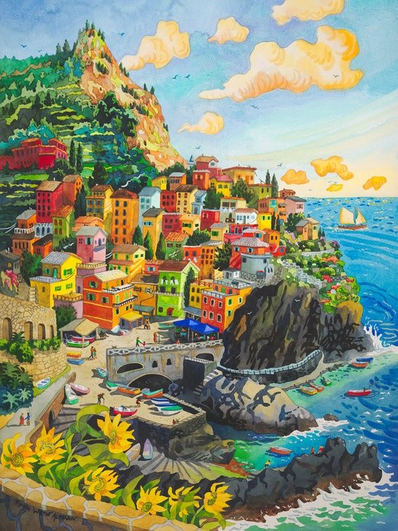Cinque Terre Italy Manerola Seascape Italian Town on Cliffs with Ocean, Sail Boats and Harbor