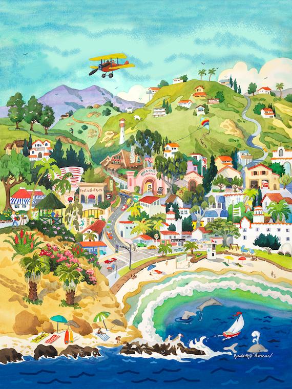 Laguna Beach Art, City of Laguna Beach, painting of Laguna Beach, Laguna Beach print, Laguna Beach CA, Laguna Beach artwork, Laguna