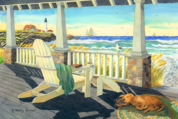 East Coast Beach House painting, adirondack chair, Dog a a porch, Lighthouse wall decor, sailboat art, Beach Cottage artwork