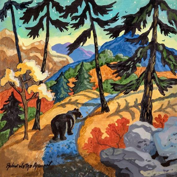 Bear on the Trail, Black Bear, Bear in the Woods, Bear in the Mountains, Bear in the Forest, Wild Bear, Cabin Art, Bear Painting, Bear Art