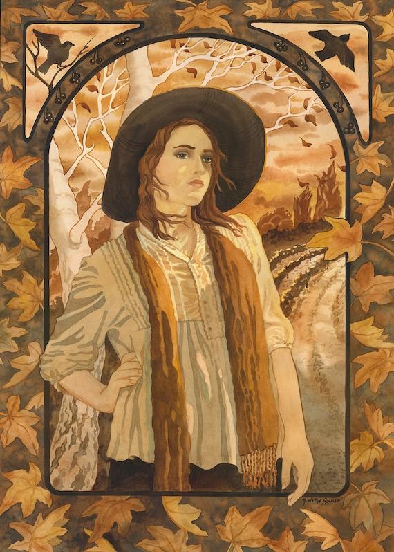 portrait of a woman, woman artist, sepia woman painting, painting of a woman, nature lover, painting of an artist