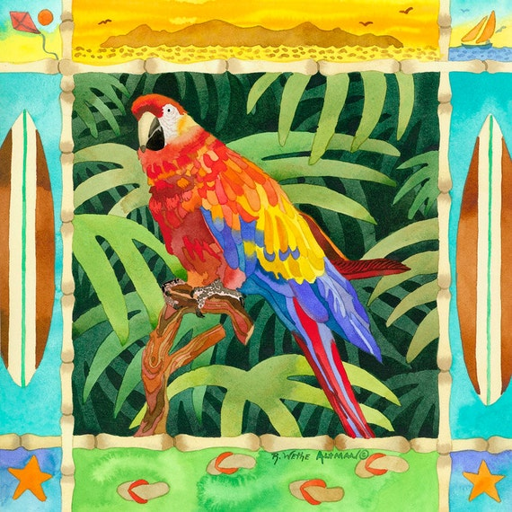 Tropical Colorful Surf Parrot with surfboards, bamboo and palm trees in Jungle print