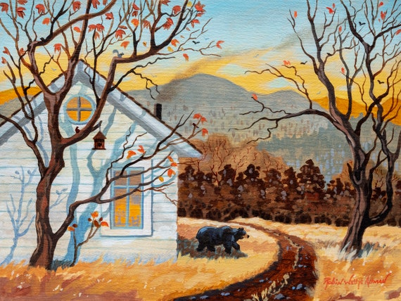 Winter in the Mountains, Bear in the mountains, Black Bear, Bear by the Cabin, Cabin in the Mountain, Bear Art, Cabin Art, Mountain painting