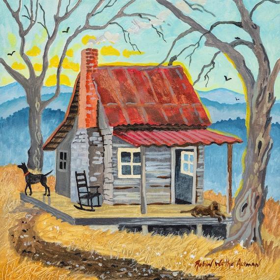 Appalachian Cabin, Cabin in the Appalachian Mountains, Appalachian Mountain, Cabin Art, Cabin with Dogs, Dog Art, Mountain Landscape, Cabin