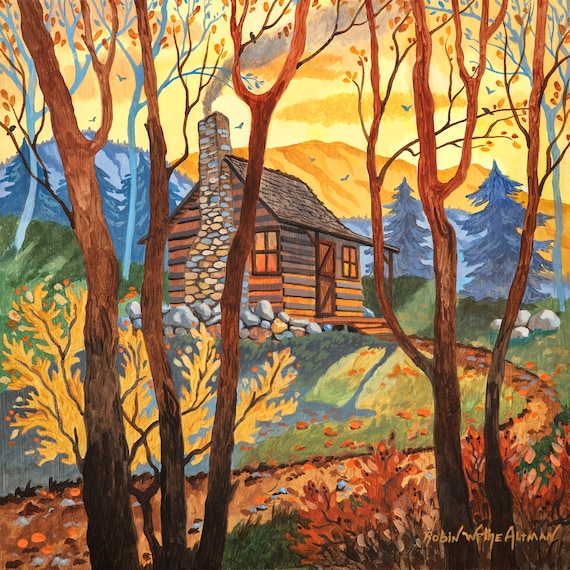Cabin in the woods, North Carolina mountains, Cabin art, art for a cabin, cabin in the mountains, Cabin life, Mountain Cabin, Cozy Cabin