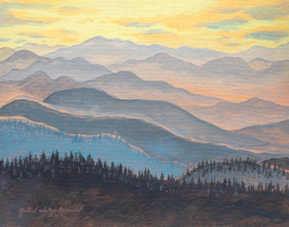 Appalachian Mountains, Mountain Scene, Winter Mountain Scene, Painting of the Mountains, Cabin Art, Mountain Cabin Art, Mountain Painting