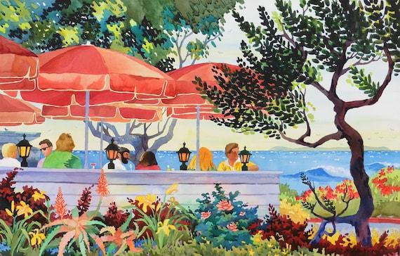 Greeter's Corner Laguna, Laguna Beach artwork, painting of Laguna, Greeter's Corner, Laguna Restaurant, Main Beach Laguna, Laguna Art