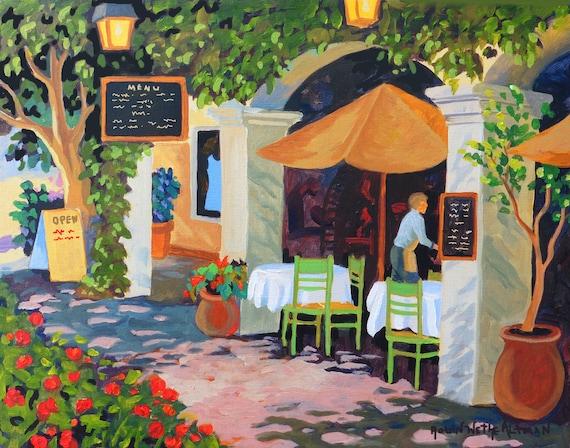 Santa Barbara Cafe, Santa Barbara painting, Santa Barbara Art, Restaurant Painting, Cafe Painting, Sidewalk Cafe, art