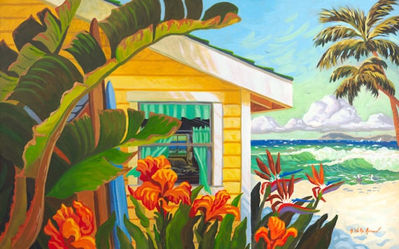 Laguna Beach, Crystal Cove Cottage, Crystal Cove, Laguna Beach Cottages,  Cottage on the Beach, Painting of Laguna, Beach House, Surfboard,