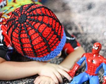 Crochet Spiderman Beanie - Spider Super Hero Hat - Spidey Hat - Kids Winter  Cap - Adult Sizes f0231f94754