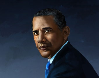 Barack Obama portrait print