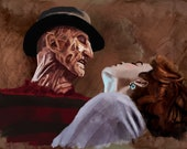 A Nightmare on Elm Street 3 Art Print Freddy Krueger and Nancy