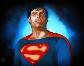 Superman Christopher Reeve portrait print