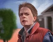 Back to the Future Art Print Michael J Fox