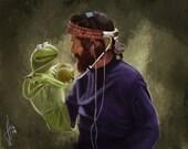 Jim Henson and Kermit T Frog art print
