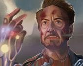 Iron Man Avengers End Game Art Print Robert Downey Jr Tony Stark