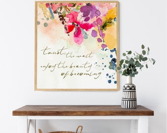 Inspirational Art | Boho Decor | Modern Farmhouse | Watercolor Floral Abstract  |Uncommon Faith by Amylee Weeks | Art Print or Canvas