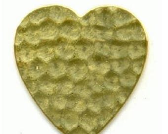 Brass stamping, 24mm x 23mm flat hammered brass heart, 24 gauge, bb-21