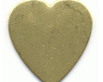 Brass stamping, 24mm x 23mm flat brass heart, 24 gauge heart-01