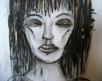 ORIGINAL ART 'Cleo' mixed media art on canvas, black gold
