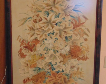 Decorative Vintage Japanese Chinese Watercolor of Tiger Lilies Signed