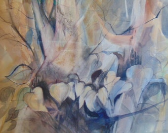 Decorative Vintage Modern Abstract Floral Watercolor Listed Artist Signed B. Nechis