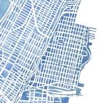 Hoboken New Jersey Indigo 5x7, 8x10, 11x14, 12x16 print watercolor map