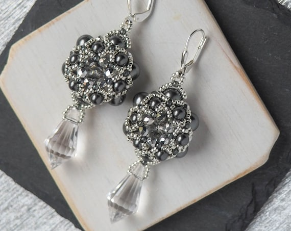 Modern Hexagon Crystal and Gray Earrings