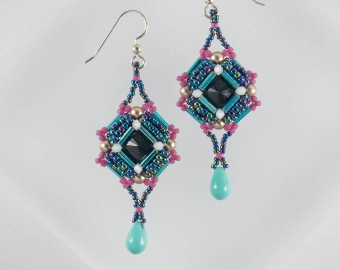 Geometric Teal and Black 80s Retro Earrings