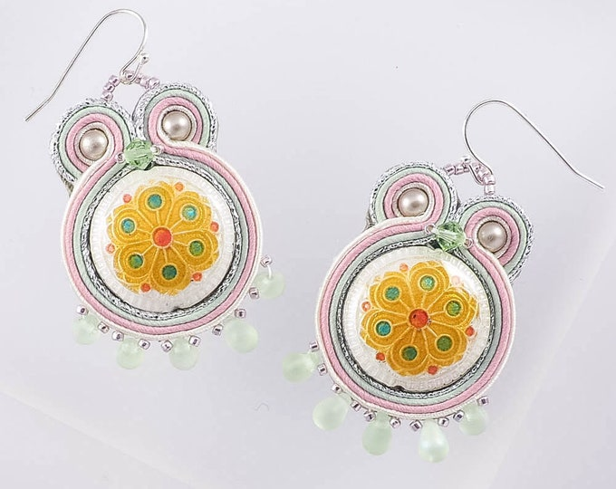 Yellow and White Cloisonne Flower Enamel Earrings
