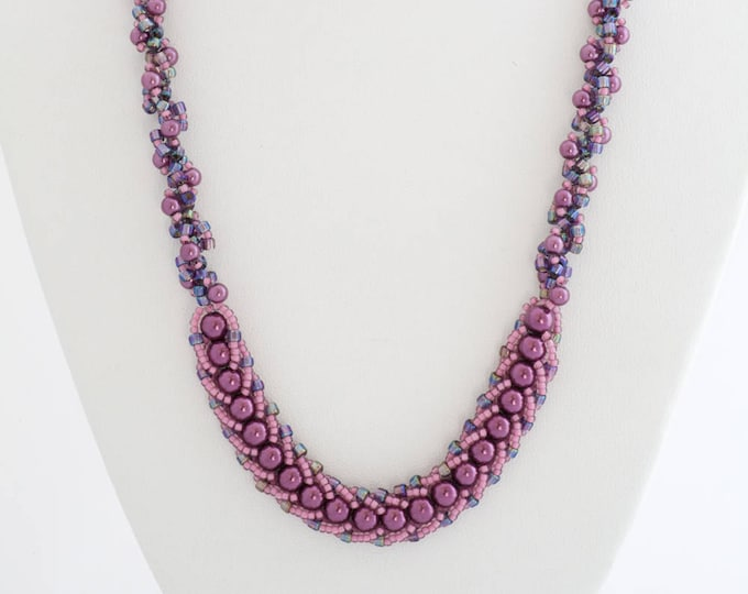 Iridescent Purple Spiral Necklace Set