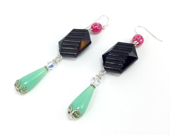 Long Trendy Earrings in Hot Pink and Black