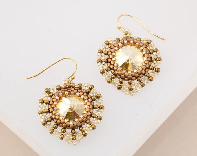 Gold & Bronze Sun Earrings