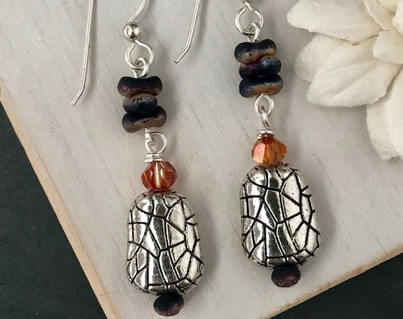 Orange & Black Dinosaur Earrings