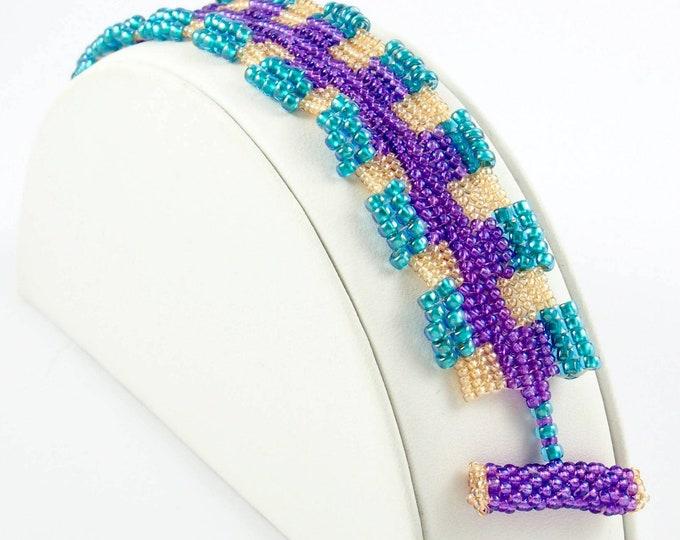 Purple, Aqua and Gold Beads Bracelet